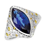 Platinum London Blue Topaz, Yellow Sapphire and 1/2 CTW Diamond Ring
