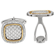 Antique Snake Design Diamond Cufflinks in Sterling Silver and 14K Yellow Gold