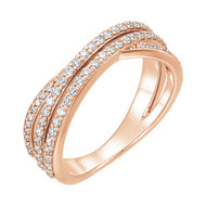 5/8 CTW Diamond Criss Cross Ring in 14K Rose, Yellow or White Gold