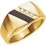 14K Yellow Gold Onyx and 1/10 CTW Diamond Men's Ring