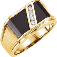 14K Yellow Gold Onyx and 1/8 CTW Diamond Men's Ring