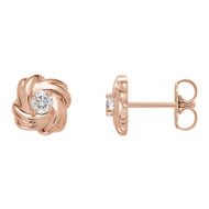 1/5 CTW  Diamond Knot Stud Earrings