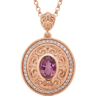 Pink Tourmaline and Diamond Vintage Style Necklace in 14k Rose Gold