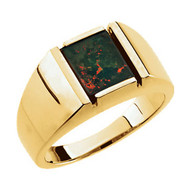14K Yellow Gold Men's  Square Bloodstone Ring