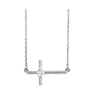1/10 CTW Diamond Solitaire Sideways Cross Necklace in 14K Gold