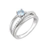 Platinum Aquamarine and 1/4 CTW Diamond Bypass Ring