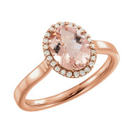 Oval Peach Pink Morganite and 1/8 CTW Diamond Halo Ring 14k Rose Gold