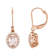 Oval Peach Pink Morganite and 1/5 CTW Diamond Halo Earrings 14k Rose Gold