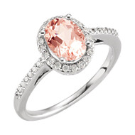 Morganite and 1/5 CTW Diamond Engagement Ring in 14K White Gold
