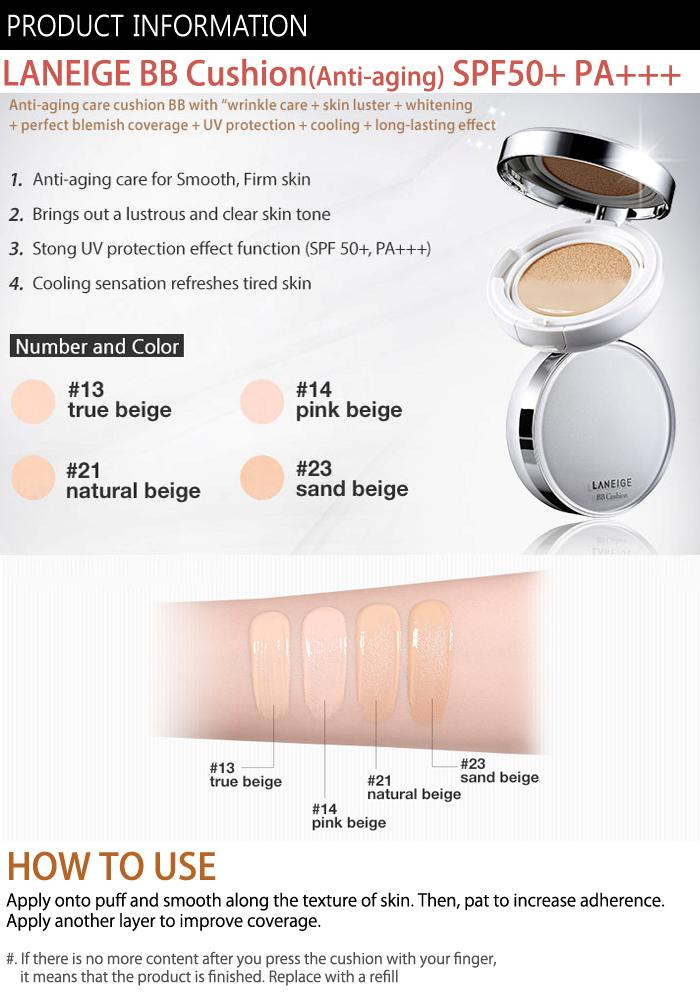 Laneige Bb Cushion Spf50 Pa 4 Colors Pick One Anti Aging