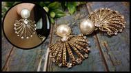 Elegant Pearl Fan Shape Earrings