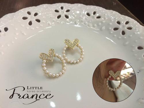 Shinny Heart Pearl Earrings