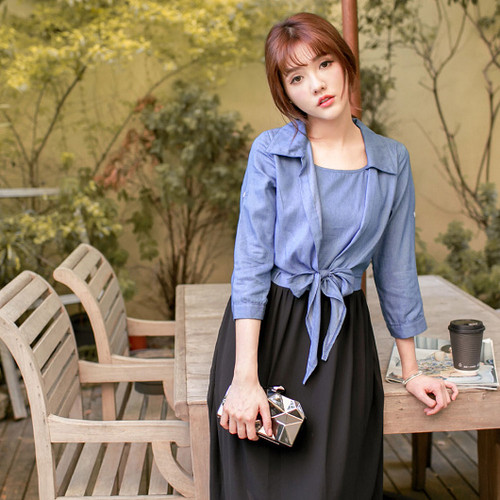 Denim Shirt Chiffon Maxi Dress
