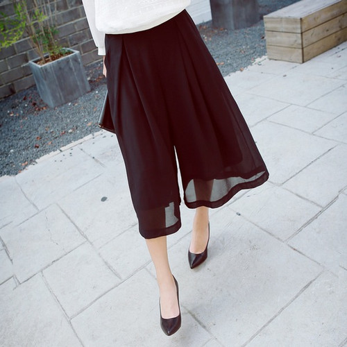 Wide Pleated Chiffon Pants