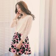 Lace Sleeve Flower Print Dress