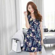 Flower Printed V - Neck Sleeveless Dress
