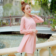 Lace Sleeve Stitching Women A-Line Dress