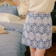 Flower Print A Line Skirt