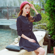 Polka Dot Lotus Leaf Collar Dress