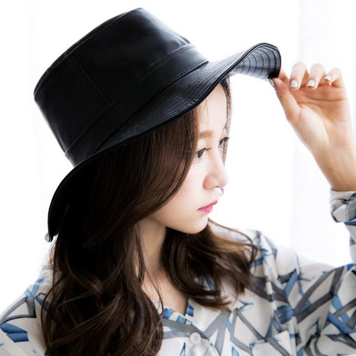 Wide Leather Texture Fashion Hat