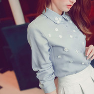 Flower Beads Decorated Long Sleeve Lace Chiffon Blouse