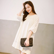 Wide Lace Sleeve Dress
