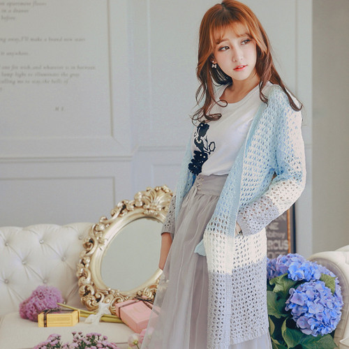 Two Tone Knitting Cardigan