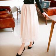 Elastic Waist Gauze Maxi Skirt