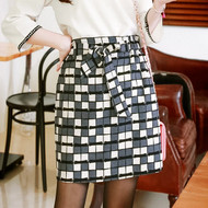 Retro Geometric Print Skirt