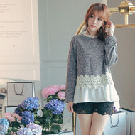 Woolen Lace-trim Blouse