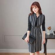 Stripe Cardigan Dress