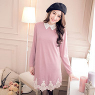 Lace Stitching Long-Sleeved Shirt Collar Dress