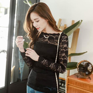 Rose Lace Long Sleeve Blouse