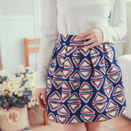 Geometric Print Pleated Skirt
