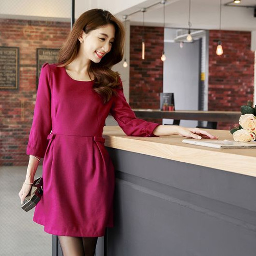 Bow Pleated Woolen Dress