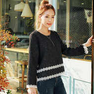 Lace Stitching Woolen Top