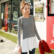 Round Neck Knit Fake Two Pieces Top