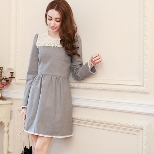 Gray Lace Stitching Woolen Dress