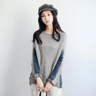 Knit Stitching Denim Top