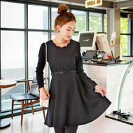 Adjustable Waistband Petal Collar Dress