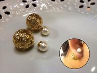 Two Ball Pearls Stud Earrings