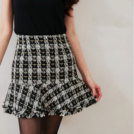 Plaid Woolen Fishtail Skirt