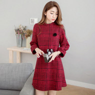 Flower Brooch Plaid Dress