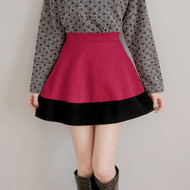 Color Stitching Swing Skirt
