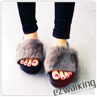 Faux Fur Wedge Slipper