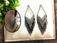 Silver Mesh Drop Earrings