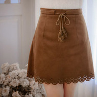 Flowers Fringed Suede Skirt