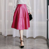 Faux Leather Umbrella Skirt