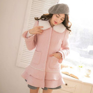 Detachable Faux Fur Collar Coat