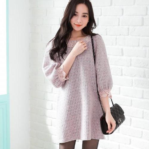 Wool Doll Collar Lace Dress